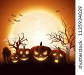 cartoon halloween pumpkins with ... | Shutterstock .eps vector #1135934039