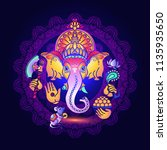 hindu god ganesha. colorful ... | Shutterstock .eps vector #1135935650