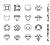 gem line icons. diamond crystal ... | Shutterstock .eps vector #1135940939