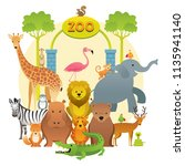group of wild animals  zoo ... | Shutterstock .eps vector #1135941140