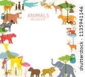 group of wild animals  zoo ... | Shutterstock .eps vector #1135941146