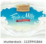 splash of milk  with a set of... | Shutterstock .eps vector #1135941866