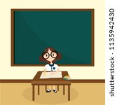 the girl learning in classroom | Shutterstock .eps vector #1135942430