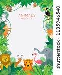 wild animals in jungle  frame ... | Shutterstock .eps vector #1135946540
