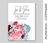 floral soft pink peony wedding... | Shutterstock .eps vector #1135946660