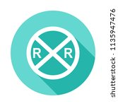 railroad crossing icon in flat... | Shutterstock .eps vector #1135947476