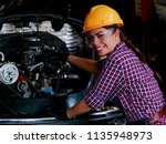 young asian engineer woman ... | Shutterstock . vector #1135948973