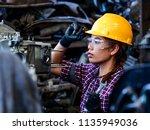 young asian engineer woman ... | Shutterstock . vector #1135949036
