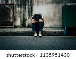 panic attacks young girl in sad ... | Shutterstock . vector #1135951430