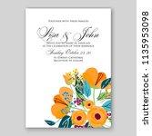 wedding invitation floral...   Shutterstock .eps vector #1135953098