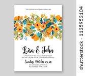wedding invitation floral...   Shutterstock .eps vector #1135953104