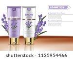 lavender cream cosmetic set... | Shutterstock .eps vector #1135954466