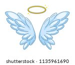 a pair of wide spread angel...   Shutterstock .eps vector #1135961690