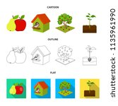 garden  farming  nature and... | Shutterstock .eps vector #1135961990