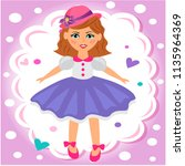 beautiful doll in a hat and... | Shutterstock .eps vector #1135964369