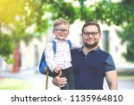 back to school. happy father... | Shutterstock . vector #1135964810