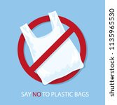 say no to plastic bags poster.... | Shutterstock .eps vector #1135965530