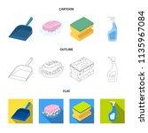 blue scoop for garbage  pink...   Shutterstock .eps vector #1135967084