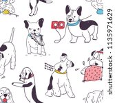 seamless pattern with funny... | Shutterstock .eps vector #1135971629