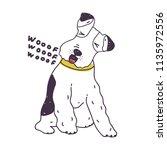 adorable dog loudly barking.... | Shutterstock .eps vector #1135972556