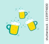 three clinking mugs of beer.... | Shutterstock .eps vector #1135974830
