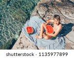 summer plesuares  boy ready to... | Shutterstock . vector #1135977899