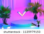 isolated gold icon with plants... | Shutterstock . vector #1135979153