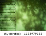 green concrete wall with tree's ... | Shutterstock . vector #1135979183