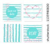 wedding confetti with stripes.... | Shutterstock .eps vector #1135980830