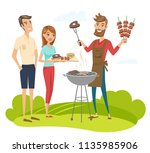 bbq party with friends. vector... | Shutterstock .eps vector #1135985906