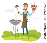 happy man grilling meat on... | Shutterstock .eps vector #1135986260