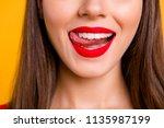 glamour feminine person eat...   Shutterstock . vector #1135987199