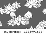 lotus flowers. big leaves and... | Shutterstock .eps vector #1135991636