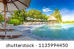 luxury beach pool with palm... | Shutterstock . vector #1135994450