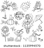 set of doodle autumn elemetns... | Shutterstock .eps vector #1135994570