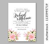 floral pink dahlia wedding... | Shutterstock .eps vector #1135995719