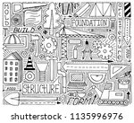black and white doodle set with ... | Shutterstock .eps vector #1135996976