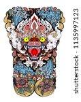 thai art traditional tattoo... | Shutterstock .eps vector #1135997123