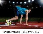 sprinter leaving starting...   Shutterstock . vector #1135998419