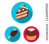 chocolate dessert flat icons in ... | Shutterstock . vector #1136000960