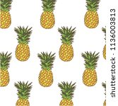 pattern with pineapples on... | Shutterstock .eps vector #1136003813