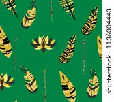boho pattern  feathers  arrows  ... | Shutterstock .eps vector #1136004443