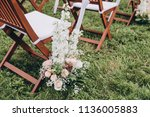in area of wedding ceremony on... | Shutterstock . vector #1136005883