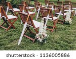 in area of wedding ceremony on... | Shutterstock . vector #1136005886