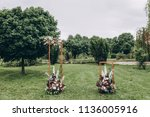 arch for wedding ceremony... | Shutterstock . vector #1136005916