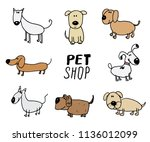 funny dogs doodle set. hand... | Shutterstock .eps vector #1136012099