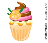 cupcake with chocolate and... | Shutterstock .eps vector #1136012570