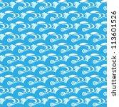 seamless blue wave pattern.... | Shutterstock . vector #113601526