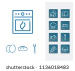 cuisine icon set and eggs with...