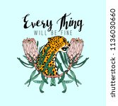 every thing will be fine slogan.... | Shutterstock .eps vector #1136030660